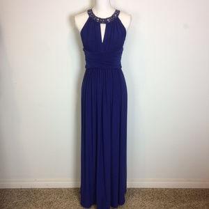 Eliza J Embellished Collar Blue Jersey Gown